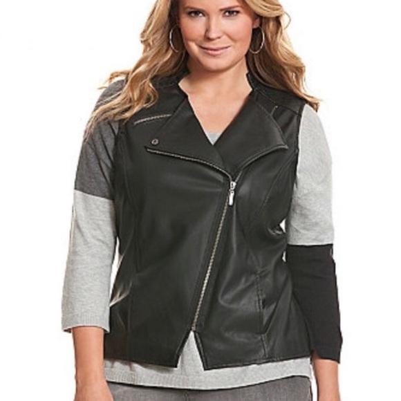 Lane Bryant Jackets & Blazers - Lane Bryant NWT black faux vegan leather Moto vest